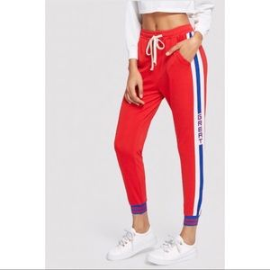 Pants - Sporty Red White Blue Joggers